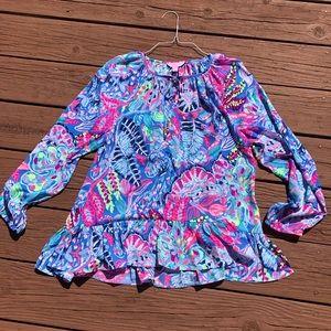 Lilly Pulitzer blouse Fantasy Garden sz M neon